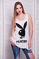 Молодежная женская майка Playboy черный (Классик)