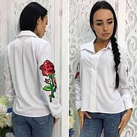 Классическая рубашка с розой на рукавах 0013 (НБН)