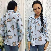 Классическая рубашка с цветочным принтом 011 (НБН)