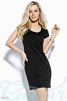 Стрейчевое платье мини.  Цвет черный.