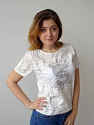 Молодіжна біла футболка з напівпрозорими вставками, St