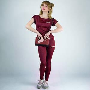 Бордовый спортивный женский трикотажный костюм