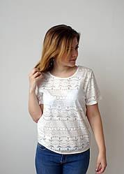 Молодіжна біла футболка з напівпрозорими вставками, А