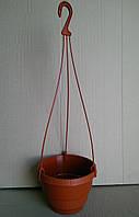 Горшок пластиковый для цветов подвесной Неон 15 см теракотовый