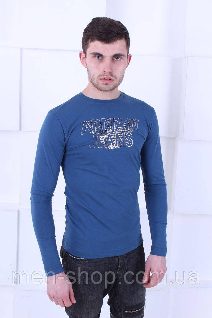 Красивый синий лонгслив Armani