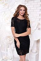 Черное гипюровое платье А42 Arizzo 44-54 размеры