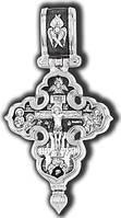 Крест-мощевик серебряный Распятие Христово с предстоящими. Покров Пресвятой Богородицы