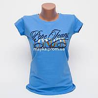 Женская футболка с принтом London цвет голубой p.44-46 Gusse 1189 SS29-4