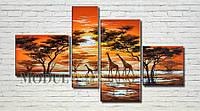 """Модульная картина """"Жирафы у озера"""" масло, холст!"""