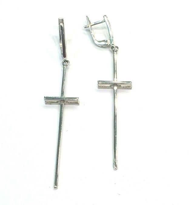 Серьги кресты серебро 925 картинка