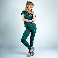 Зеленый спортивный женский трикотажный костюм