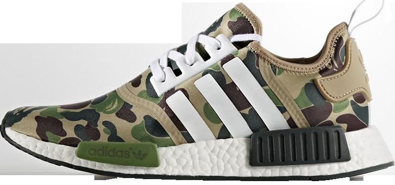 мужские кроссовки Bape X Adidas Nmd Green Camo цена 1 399 грн