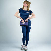 Синий спортивный женский трикотажный костюм