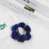 Резинка для волос с натуральным мехом норки Синий