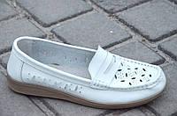 Туфли, мокасины женские кожаные белые мягкие легкие