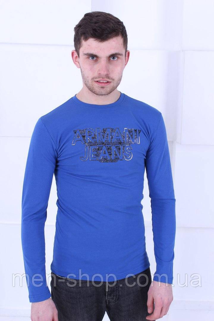 Голубая футболка  Armani с длинным рукавом