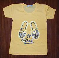 Стильная футболка для девочки 116, 122  рост