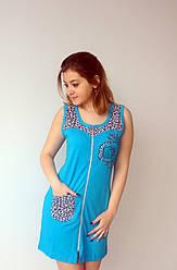 Женский летний халат голубого цвета