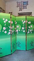 """Ширма из бамбука 170х200см  """"Сакура"""" на зеленом фоне."""