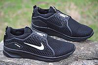 Кроссовки мужские летние Nike найк реплика сетка, резиновая вставка черные 2017