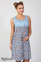 Яркий сарафан для беременных и кормления Layla, светло-голубой джинс с штапелем цветы марокко