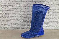 Летние ажурные синие сапожки сетка с открытым носком. Арт-01
