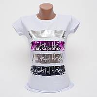 Женская футболка с ярким принтом Beautiful цвет белый p.44-46 Gusse 5741 SS20-2