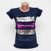 Женская футболка с ярким принтом Beautiful цвет темно-синий p.44-46 Gusse 5741 SS20-4