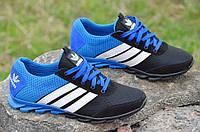 Кроссовки мужские летние сетка, кожа, замша Adidas адидас реплика черные с синим 2017