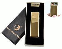 """Спиральная USB зажигалка """"Tenghong"""" №4863 Золото, две спирали накаливания, работают поочередно, подарочная"""