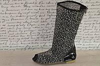 Летние ажурные черные сапожки сетка с открытым носком. Арт-01