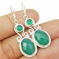 Оникс зеленый, серебро 925, серьги, 238СО