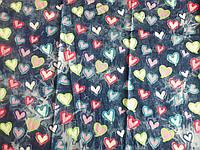 Джинс облегченный вареный Сердечки (розовый, салатный, голубой) (арт. 04281)
