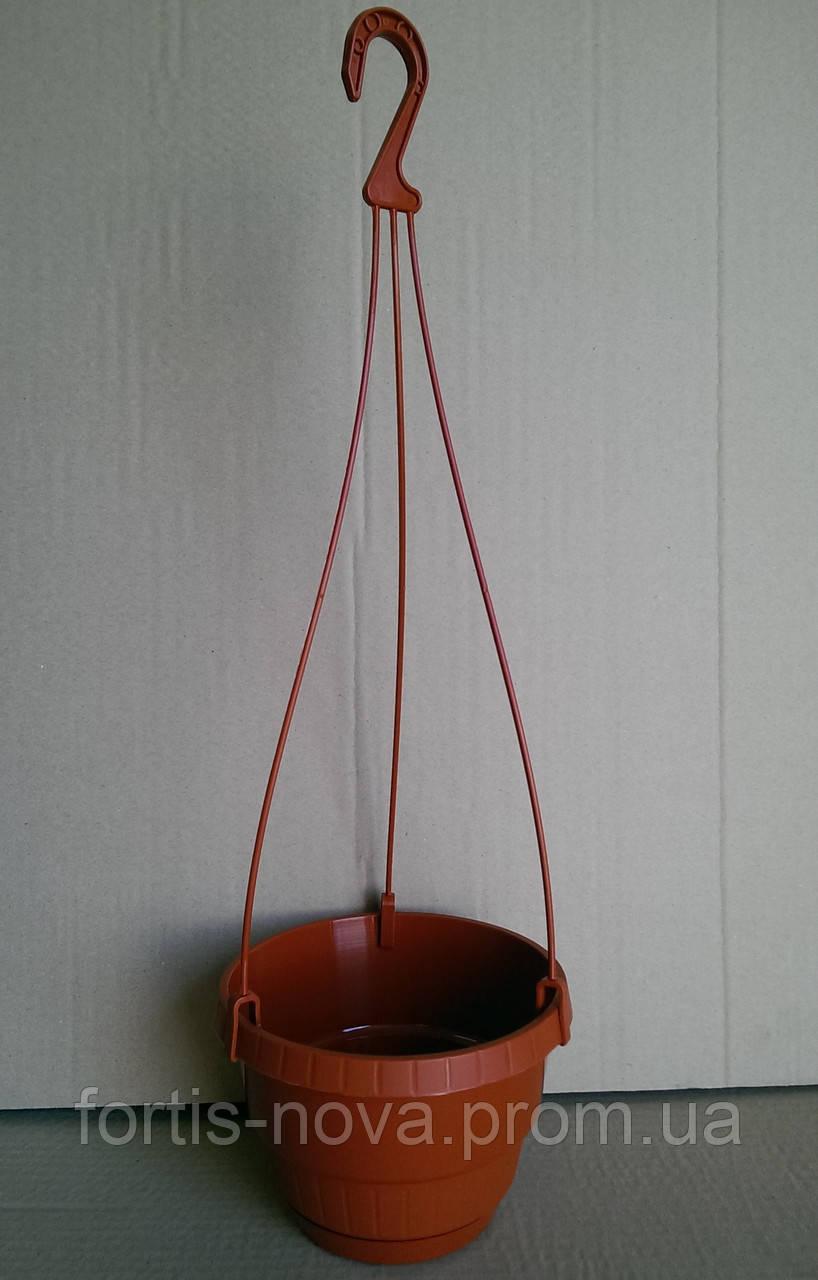 Горшок пластиковый для цветов подвесной Неон 17 см терракотовый
