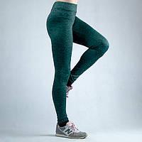Зеленые женские спортивные трикотажные лосины
