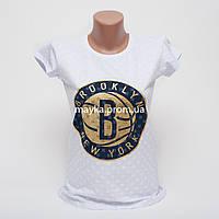 Женская футболка с принтом Brooklyn цвет белый p.44-46 Gusse 5750 SS24-2