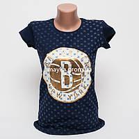 Женская футболка с принтом Brooklyn цвет темно-синий p.44-46 Gusse 5750 SS24-7
