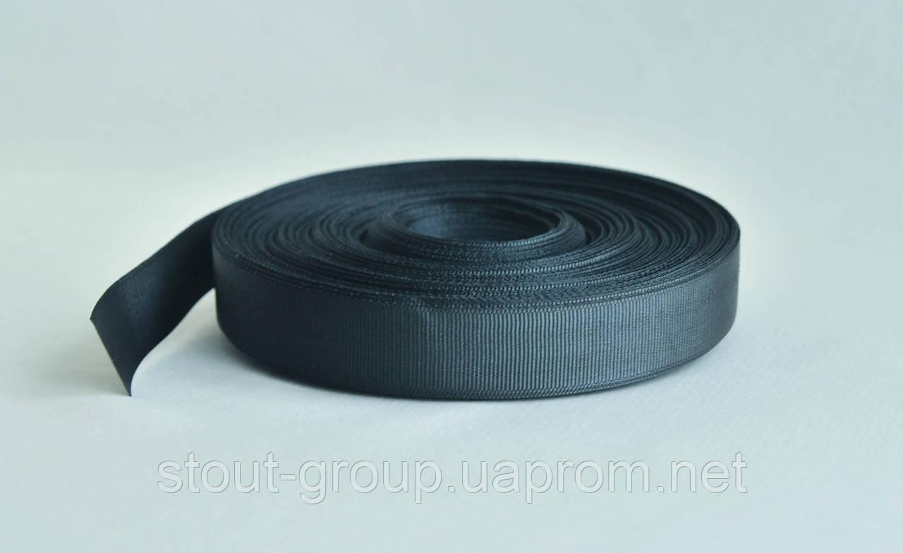 Лента окантовочная полиамидная 25 мм. чёрная