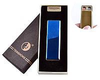 """Спиральная USB зажигалка """"Tenghong"""" №4863 Синяя, две поочередно работающих спирали, отличный подарок"""