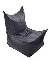 Черное бескаркасное кресло трон из кож зама Зевс