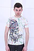 Молодежная мужская футболка  в стиле Philipp Plein белого цвета