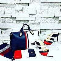 НаборTommy Hilfiger сумка, туфли, кошелек  цвет:синий, белый, красный