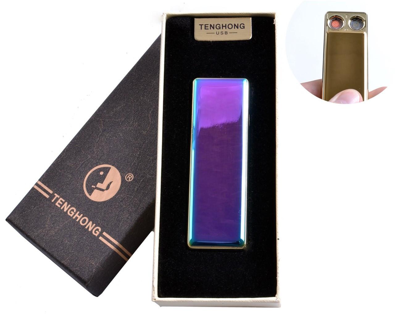 """Спиральная USB зажигалка """"Tenghong"""" №4863 Хамелеон, две поочередно работающих спирали, подарочная коробка"""