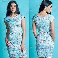 Женское летнее платье Киара голубое с магнолиями