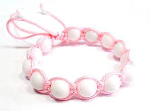 Детский браслет. Шамбала розовый. Агат белый.