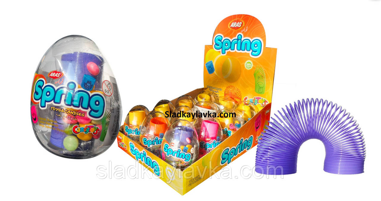 """Яйцо """"Пружина"""" сюрприз с драже 12 шт (Aras)"""