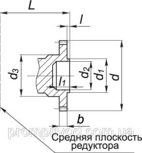 Присоединительные размеры в виде зубчатой полумуфты редуктора 1Ц2У