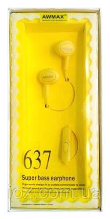 Желтые Hi-Fi наушники вкладыши с микрофоном и кнопкой управления Awmax 637