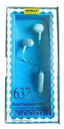 Синие Hi-Fi наушники вкладыши с микрофоном и кнопкой управления Awmax 637