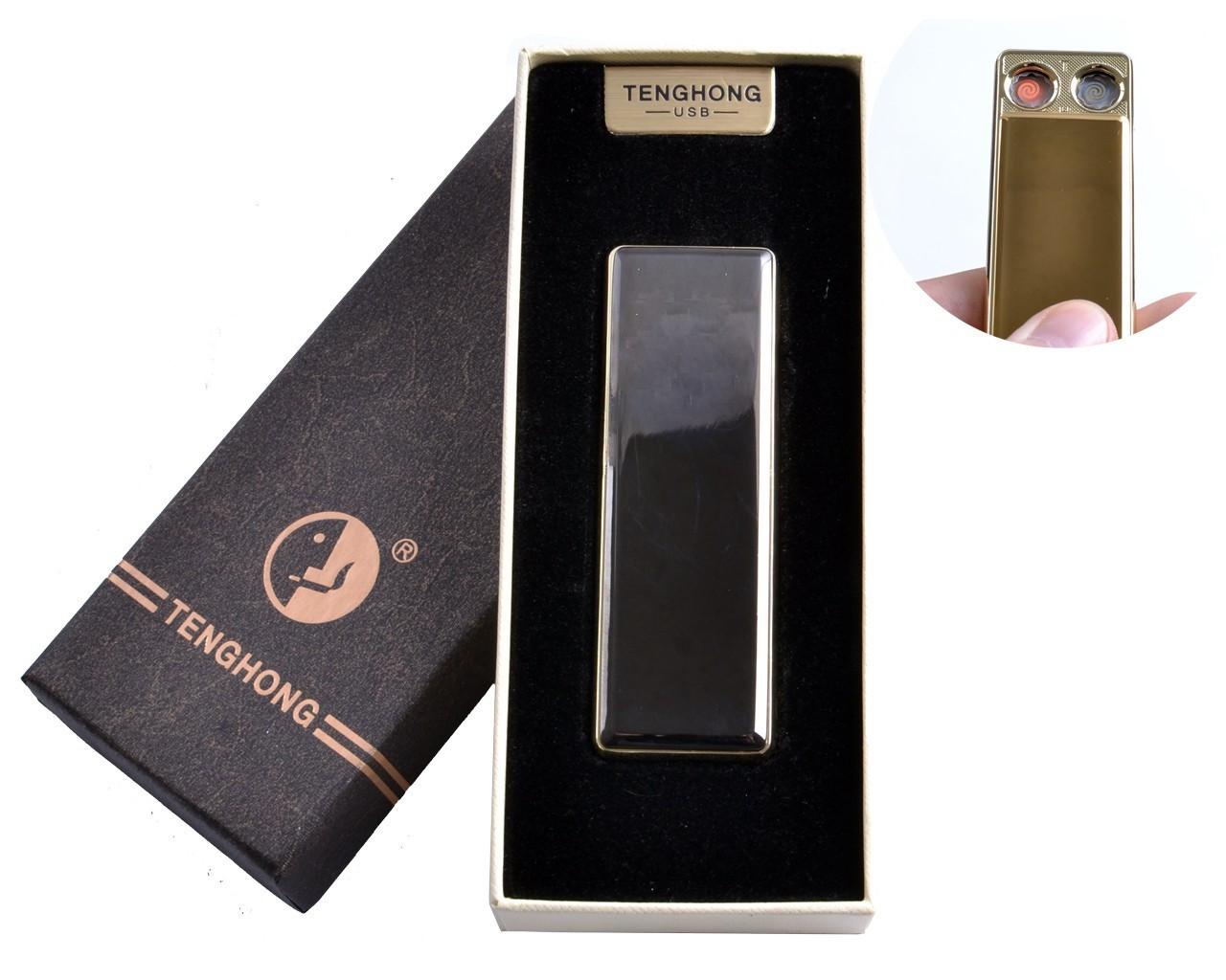 """Спиральная USB зажигалка """"Tenghong"""" №4863 Черная, подарочная, карманная, две спирали, модно и стильно"""
